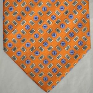BRIONI Orange with Blue Design Handmade Tie Italy